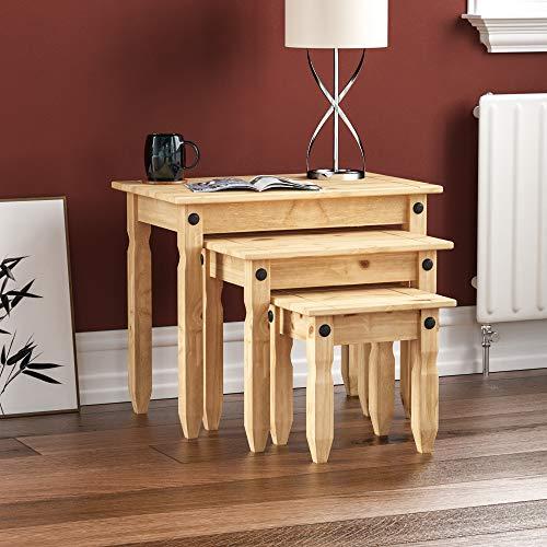 Movian Amazon Brand Corona Nest Of Tables, Solid Pine Wood