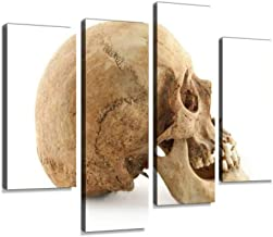 Real Human Skull Profile Skulls and Pictures Canvas Wall Art Hanging Paintings Modern Artwork Abstract Picture Prints Home Decoration Gift Unique Designed Framed 4 Panel