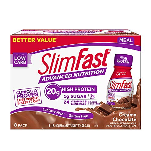 SlimFast Advanced Nutrition Creamy Chocolate Shake – Meal Replacement – 20g of Protein – 11 Fl Oz – (Pack of 8) - Pantry Friendly