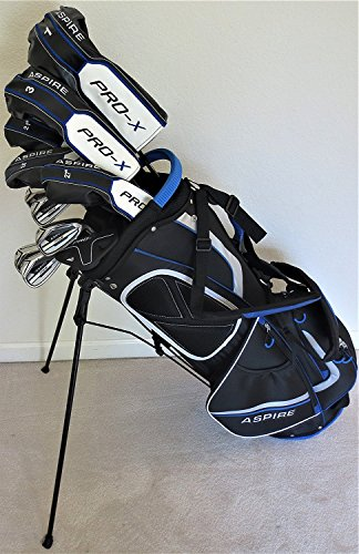 Pro Elite Mens Complete Golf Club Set Stiff Flex - Adjustable Driver, Fairway Wood, 3,4,5 Hybrids Irons, Sand Wedge, Putter & Stand Bag Right Handed