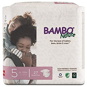 Bambo Nature Premium Baby Diapers Size 5  24-55 lbs  27 Count Multi-colored