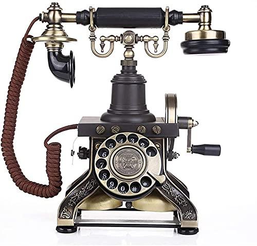 KMILE Teléfono Decorativo Teléfono Inicio Oficina Nordica Antigua Teléfono de Madera Maciza en Estilo Europeo con un Vintage de Alambre