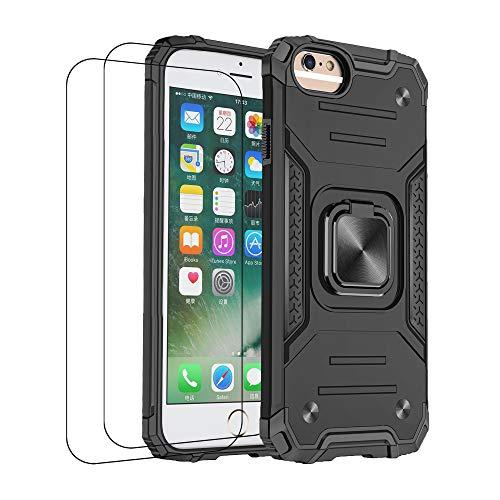 通用 Funda iPhone 6 Carcasa, iPhone 6 Plus Fundas con Templado Protector [2 Piezas] Silicona Magnetica Case 360 Grados Anillo Soporte Armor Antigolpes Tapa (iPhone 6, Negro)
