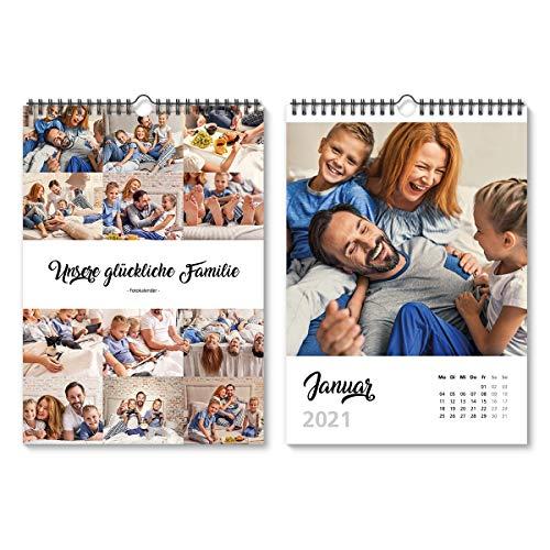 Fotokalender Wandkalender 2021 individuell mit Ihren eigenen 12 Fotos DIN A4 210x297 mm hoch - Black and White