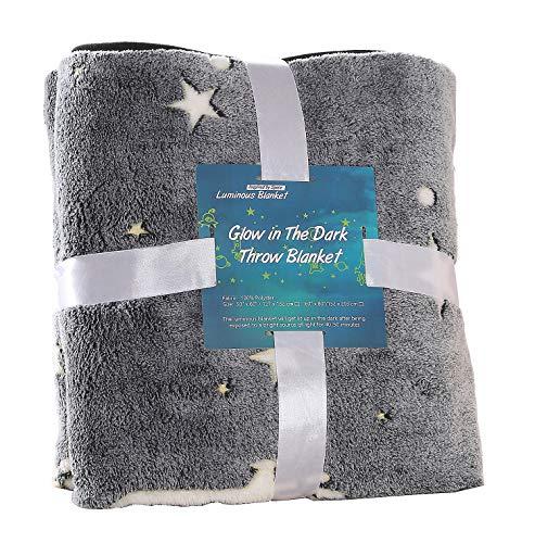 SUCHDECO Glow in the Dark Blanket manta de brillo espacial para niños y adultos, manta de felpa súper suave con patrón de astronauta, regalo de cumpleaños de Navidad para niños y niñas, gris 127 x 152
