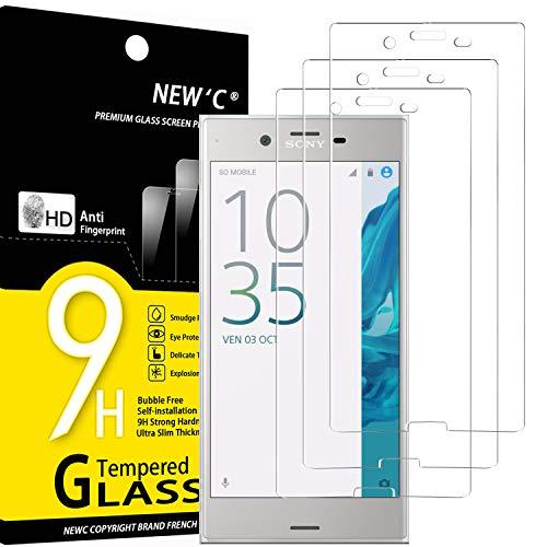 NEW'C 3 Unidades, Protector de Pantalla para Sony Xperia XZ, Antiarañazos, Antihuellas, Sin Burbujas, Dureza 9H, 0.33 mm Ultra Transparente, Vidrio Templado Ultra Resistente