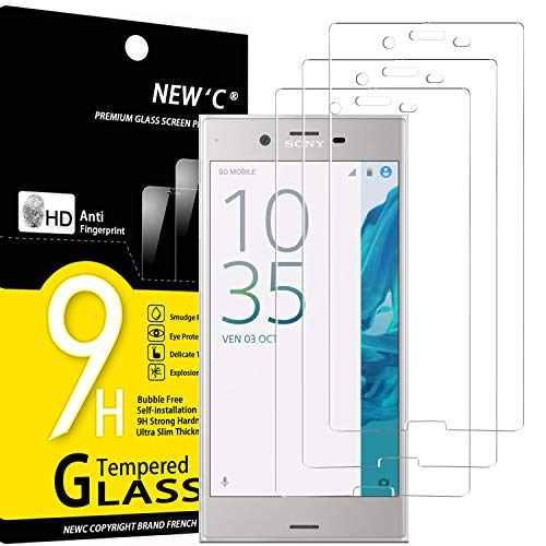 NEW'C Lot de 3, Verre Trempé Compatible avec Sony Xperia XZ, Film Protection écran sans Bulles d'air Ultra Résistant (0,33mm HD Ultra Transparent) Dureté 9H Glass
