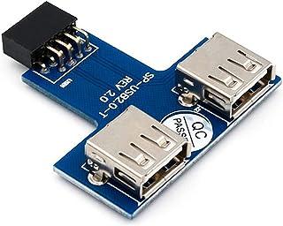 SJZERO Carte Adaptateur USB 2.0 9 Broches PC h?Te Carte mère Interne 9 Broches à 2 Ports USB A convertisseur Femelle sépar...