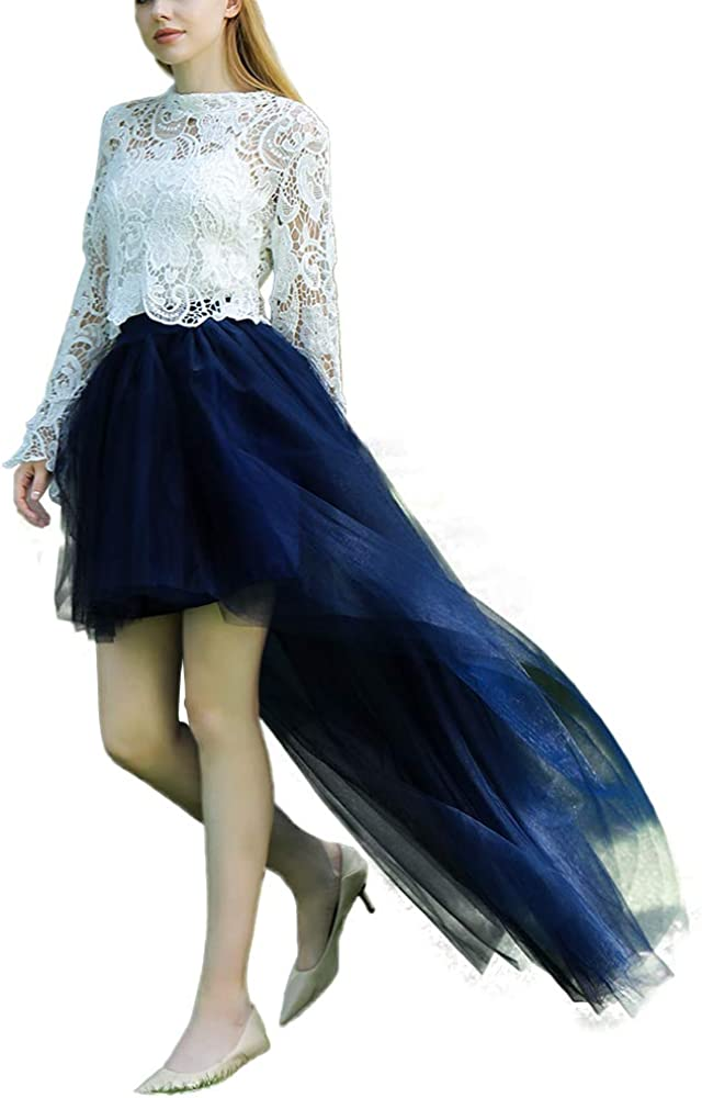 Lady Tulle Pleated Fluffy Dovetail Tutu Skirt Layered Mesh High Low Asymmetric Dance Party A-Line Pettiskirt