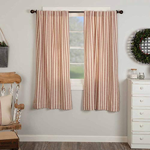 """Market Place Red Ticking Stripe Panel Curtains, 63"""" Long, Set of 2 Panels, Farmhouse Style Drape Curtains in Brick Red & Natural Cream Stripes"""