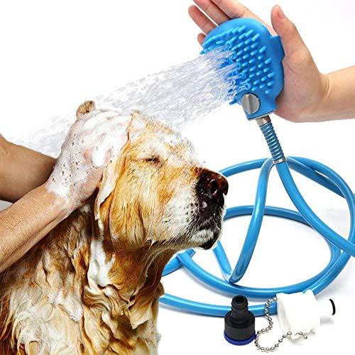 Hond Kat Huisdier Doucheslang Massage Scrubber in Één Carry, Verstelbare Handheld Grooming Douchekop Borstel Voor Bad & Buiten Tuin Gebruik Met 2 Slang Kraan Adapter