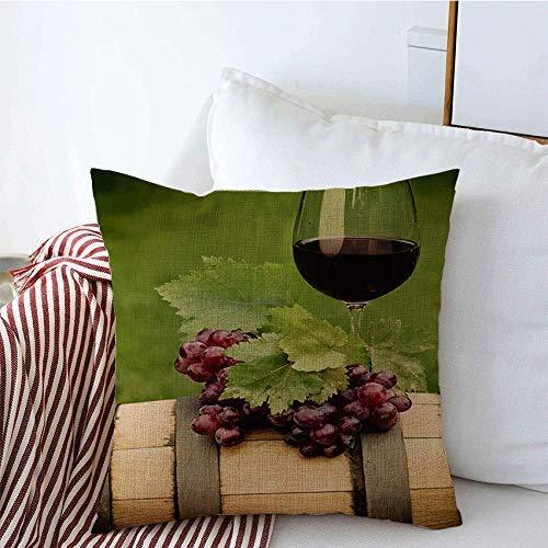 Fundas decorativas para cojines Un vaso Uva Botella roja Vino Verde Vid Paisaje Vinificación Hojas Comida Bebida Objetos Funda de Cojine 45 X 45CM