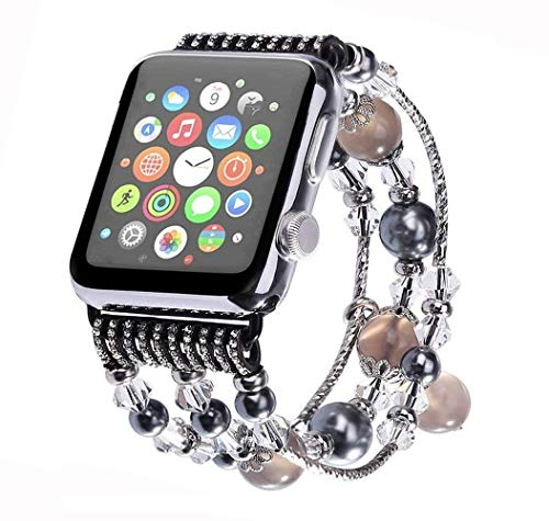 Aspack Replacement Bands Compatible Apple Watch Band 38mm/42mm iWatch Band Women Fashionable Faux Pearl Bracelet Beaded for Apple Watch Series 4 Series 3 Series 2 Series 1 Version (Gray Onyx.A, 42mm)