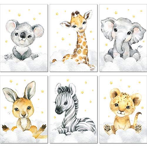 LALELU-Prints | A4 Bilder Kinderzimmer Deko Mädchen Junge | Zauberhafte Safari-Tiere | Poster Babyzimmer | 6er Set Kinderbilder (DIN A4 ohne Rahmen)