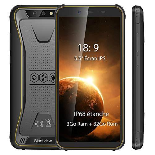 Móvil Resistente, Blackview BV5500 Plus Android 10 IP68 Robusto Telefono Antigolpes Impermeable,3GB+ 32GB, 5.5 Pulgadas, 8MP+5MP, 4400mAh Batería, 4G GPS NFC Face ID, Amarillo