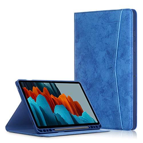 TTVie Hülle für Samsung Galaxy Tab S7+ - PU Lederhülle Schutzhülle Cover Tasche mit Stiftslot & Auto Aufwachen/Schlaf Funktion für Samsung Galaxy Tab S7+ 12,4 Zoll Tablet-PC, Dunkelblau