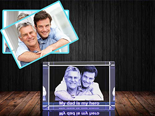 Personalized Custom 3D Photo Etched Engraving on Crystal Loving Gift (...