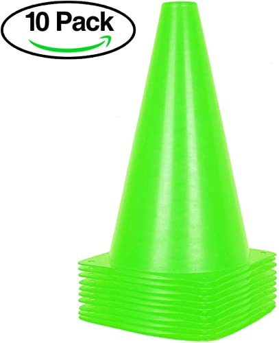 Alyoen 9 inch Traffic Cones - 10 Pack Soccer Training Cones for Outdoor Activity & Festive Events (Set of 10 or 20)- 6 Colors product image