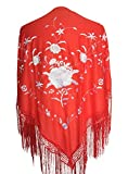 La Señorita Mantones bordados Flamenco Manton de Manila rojo con flores blanco