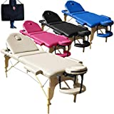 Beltom Camilla de Masaje 3 Zonas Nuevo Modelo portatil Mesa Cama Banco Plegable Reiki - Crema