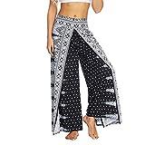 GYUANLAI Mujeres Verano Hendidura Pierna Ancha Pantalones Casuales Playa Bohemio Floral Impreso Flojo Yoga Harem Pantalones Largos
