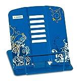 HERMA 19037 Leseständer aus Metall (19 x 15,3 x 2,7 cm zusammengeklappt) 6 Stufen verstellbar, rutschfest, Buchständer für Schule, Küche und Büro, Buchhalter für Kinder, blau