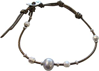 Grey Freshwater Cultured Pearl and Nuggets Leather Single Wrap Bracelet