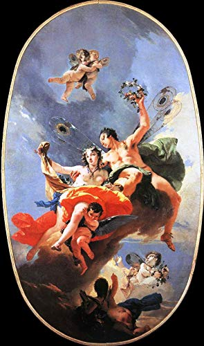 "Giovanni Battista Tiepolo The Triumph of Zephyr and Flora 1735 Ca Rezzonico - Fondazione Musei Civici di Venezia 30"" x 18"" Fine Art Giclee Canvas Print (Unframed) Reproduction"
