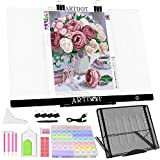 ARTDOT A2 LED Light Pad for Diamond Painting USB Powered Light Board Kit, Adjustable Brightness with 12 Angles Stand and Clips