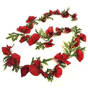 Guirnalda de amapolasartificiales de 184 cm, color rojo llama, flores decorativas