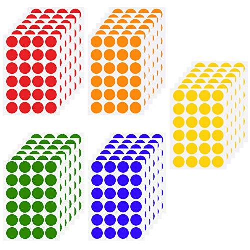 Chstarina 2cm Pegatinas Colores, Pegatinas Redondas, Etiquetas Adhesivo, 6 Colores Pegatinas Círculo Etiquetas Autoadhesivo, Etiquetas de Codificació para Oficina, 720pcs 30 Hojas