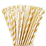 ALINK Biodegradable Gold Paper Straws Bulk, Pack of 100 Metallic Foil Striped/Wave/Heart/Star Straws for Birthday, Wedding, Bridal/Baby Shower, Celebrations and Party Supplies
