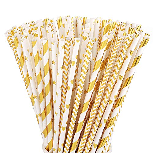 ALINK Biodegradable Gold Paper Straws Bulk, Pack of 100 Metallic Foil Striped/Wave/ Heart/Star Straws for Birthday, Wedding, Bridal/Baby Shower, Celebrations and Party Supplies