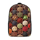 GKGYGZL Travel Laptop Backpack,Colorful Herbs And Spices Cardamom Pepper Chili Ginger Dill Natural Cuisine,Large Business Water Resistant Anti Theft Computer Daypack Slim Durable