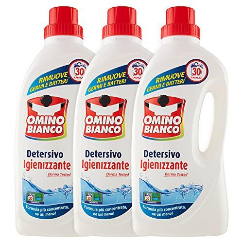 Omino Bianco - Detersivo Lavatrice Igienizzante Liquido, Igienizza i Capi e Rimuove Germi e Batteri, Formato Convenienza, 90 Lavaggi, 1500 ml x 3 Confezioni