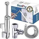 Handheld Bidet Sprayer for Toilet,SonTiy Cloth Diaper Toilet Sprayer Bathroom Jet Spray Bidet Attachment Adjustable Pressure Control-Polished Chrome-Solid Brass