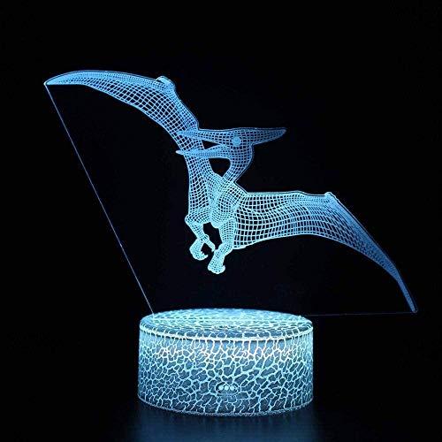 Pterodactyl 3D-Illusionslampe, Nachtlicht, optische Täuschungslampe, 16 Farben, dimmbar, USB-betrieben, Touch-Steuerung mit Rissbasis + Fernbedienung, für Jungen und Mädchen
