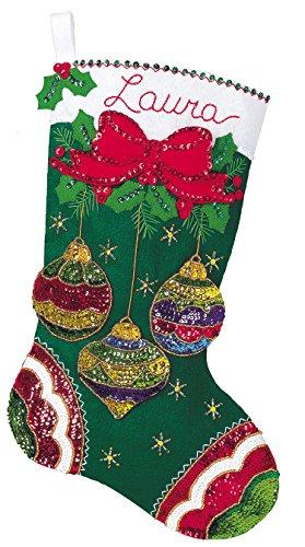 Jeweled Ornaments Felt Christmas Stocking Kit #84949