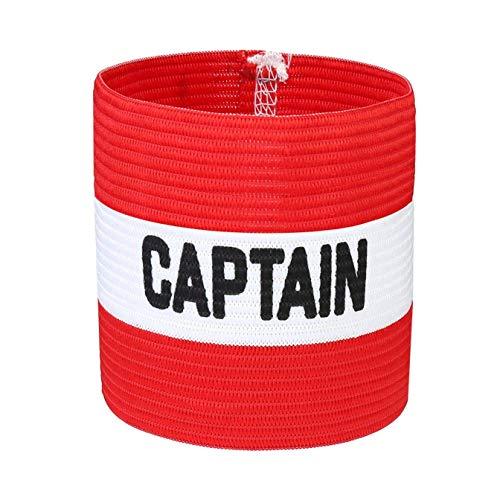 VerteLife Kapitänsband Spielführerbinde für Fußball und Rugby, Gummielastische Armbinde Kapitän Armbinde, Captains Armband für Erwachsene und Kinder - Rot, Einheitsgröße