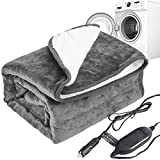 """Machine Washable Car Electric Blanket Flannel Sherpa 12 Volt Heated Travel Blanket Plug in Heating Throw for Car Truck SUV Van 40x55"""" with Controller 3 Heating Level Gray"""