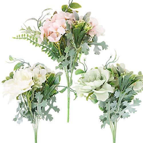 3 Bouquets de Fleurs Artificielles de Pivoine Camélia Fausses Fleurs en Tissu Soie Blanc Rose Vert Rétro Décoration Scrapbooking Bricolage pour Maison Bureau Jardin Fête Mariage Baptême