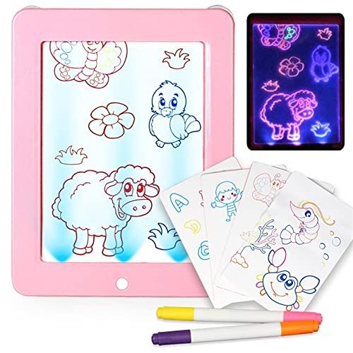 WJY Pizarra Luminosa, Tablero de Escritura Fluorescente Draw with Light Toy Tablero de Escritura Fluorescente 3D Magic Drawing Pad Pizarras Mágicas para Niños (Color : Pink)