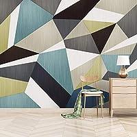 カスタム写真壁紙ブルーグリーンクリエイティブ幾何学的なリビングルームソファテレビ背景壁モダンな壁画壁紙3D,300(W)×210(H)Cm