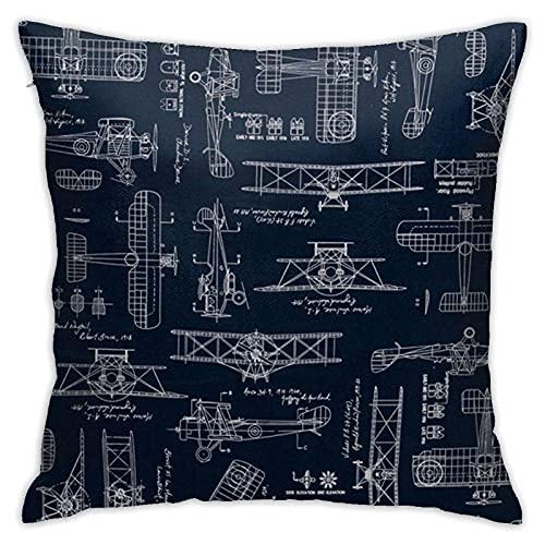 Funda de Almohada Throw Pillow Case Aviation Aviators Transportation Blue Decorative Square Cushion for Sofa Bedroom Car Home Zipper Pillowcase 18x18 Inch