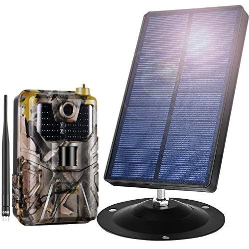 Panel Solar 1500 Mah with Cámara De Caza 16MP 1080P Cámara De Caza Nocturna Gran Angular Detección De 120 ° IP66 Impermeable 0.3S Movimiento Activado para Seguridad En El Hogar Monitoreo,4G