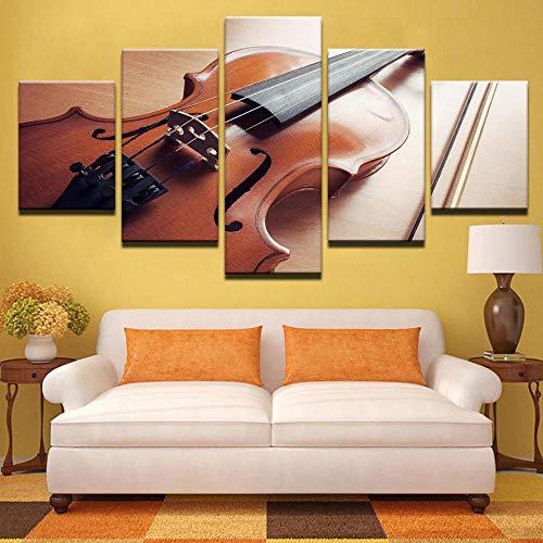 Kunstdruk Op Canvas Hd-Afbeeldingen Frameloze Viool Muziekinstrument Abstract Olieverfschilderij Huis Muur Decoratie Canvas Schilderij