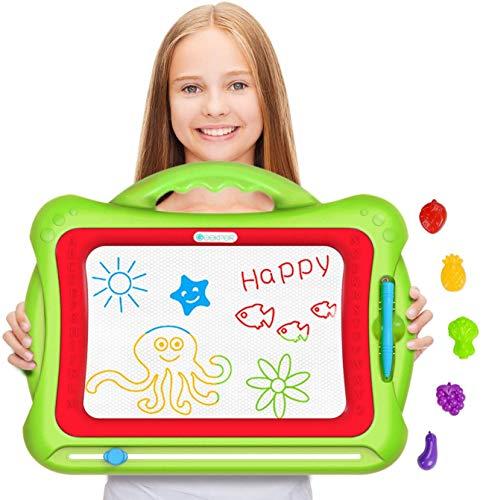 Geekper Magnetische Maltafel Zaubertafeln für Kinder, 41 x 33 x 3 cm Groß Magnetische Maltafel,Magnetische Zeichenbrett Kreatives Spielzeug für Kinder ab 2 Jahre mit 5 Form Briefmarke, Grün