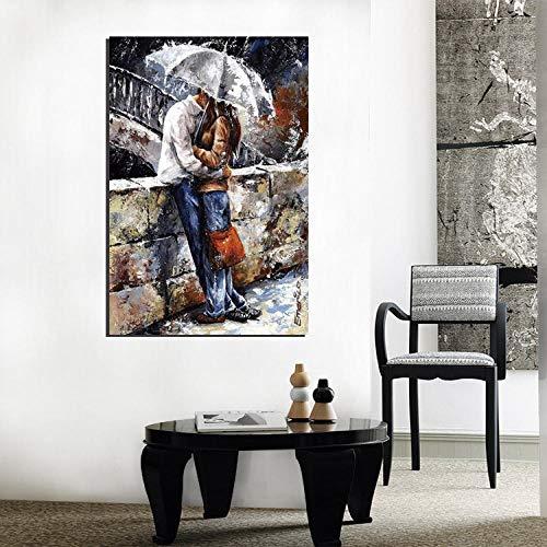 Dlfalg Pittura Decorativa Soggiorno Bacio Sotto La Pioggia Poster Di Arte Moderna Stampa Pittura Citazione Foto Di Casa Frameless 60Cm * 90Cm