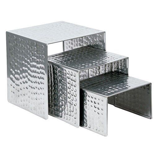 Nested Stainless Steel Display Risers With Hammered Finish - Set Of 3