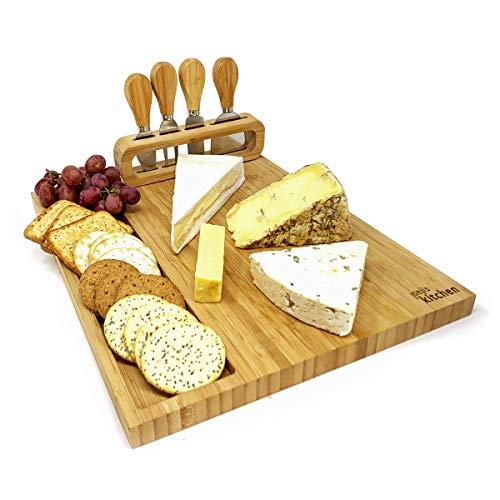 joeji's Kitchen Set de Regalo de Tabla de quesos | Tablas de Queso de bambú Tabla para quesos con Cuatro Cuchillos para quesos de Regalo